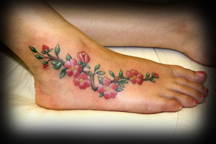 #Cherry blossom #tattoo on #foot by Susy