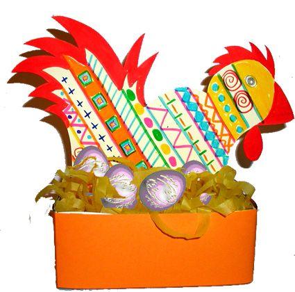 CORBEILLE DE PÂQUES ET GRAPHISME  Bricolage pour réaliser une corbeille de Pâques en forme de poule pour placer les oeufs.