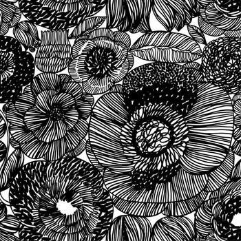 Kurjenpolvi Fabric in white, black
