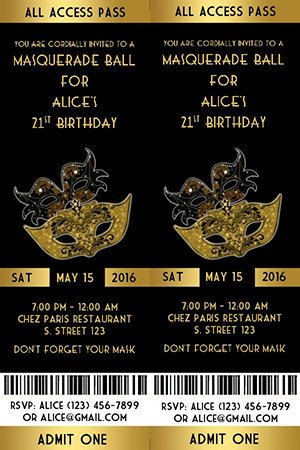 Masquerade Party Birthday Invitation Ticket Style Black and
