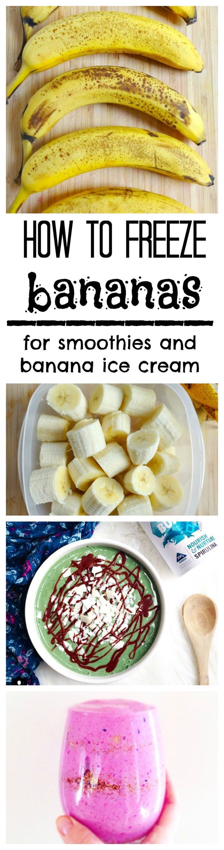How To Freeze Bananas for smoothies, smoothie bowls and banana nice cream!