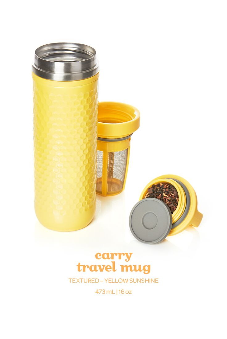 This leakproof travel mug in cheerful yellow is sure to beat the winter blues.