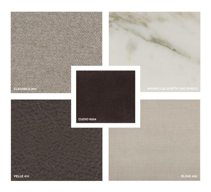 Hide Lather: 6004 Marble: Calacatta Oro matt Fabrics: Elisir 409, Elegance 950 Leather: Pelle 410