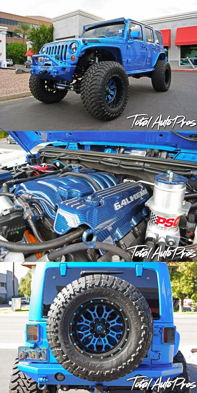 "2015 Jeep Wrangler Unlimited Rubicon in Hydro Blue | AEV 6.4L Vvt HEMI Conversion | 6"" Teraflex Long Arm Kit with Colored Match Link Arms 