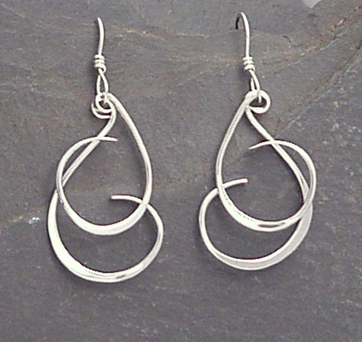Sterling Dangle Earrings - Handmade Forged Dangles - CURLY Q