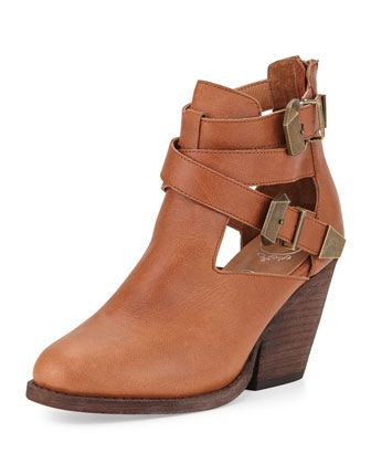 Jeffrey Campbell | Watson Buckled Cutout Leather Bootie, Tan/Bronze - CUSP