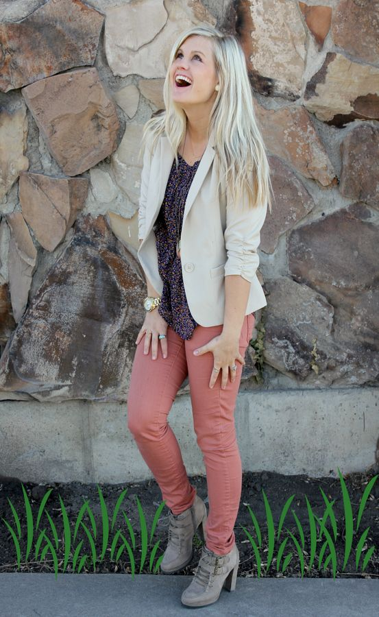 Spring look...colored denim, blazers and floral.