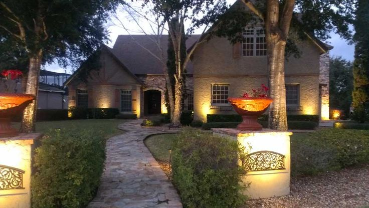 Outdoor Wall Lighting with trees landscaping