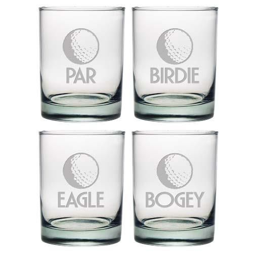 Par, Birdie, Eagle or Bogey.  Perfect for the golfer who enjoys a drink, these glasses make the perfect gift.   This set of 4 double old fashioned glasses is a great addition to the golf enthusiasts bar cart.