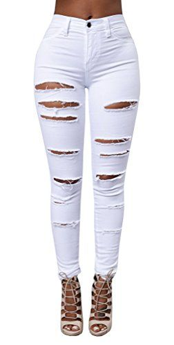 New Trending Denim: Ermonn Women's High Waist Destroyed Ripped Hole Stretch Denim Skinny Jeans Distressed Trousers (XXL, White). Special Offer: $23.99 amazon.com Ermonn Women's High Waist Destroyed Ripped Hole Stretch Denim Skinny Jeans Distressed Pants Feature: Style: Casual, Sexy, Fashion Fit Type: Skinny Color: Black, White, Blue Waist Type: High Waist Pockets : 2 Front Pockets and 2 Back Pockets. Pant...