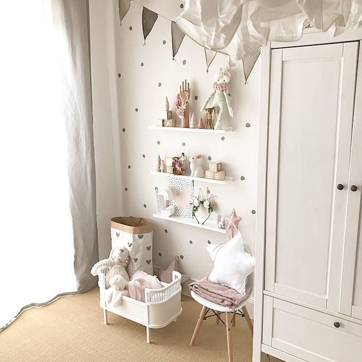 Kinderzimmer Deko Idee Mädchen Inspo einrichten 💕 Wandsticker Puppenbett Kleiderschrank Vintage boho altrosa
