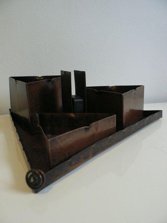rare art deco amsterdam school smoking set / 1920s copper 4 piece smoke set triangle tray