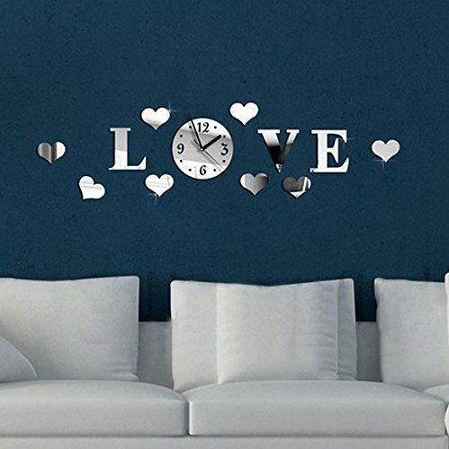 mEverest Creative 3d DIY Love Hearts 8 Hearts Mirror Wall Clock -- To view further, visit now : home diy wall