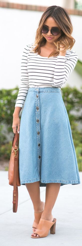 Lace & Locks Denim Midi Button A-skirt Fall Inspo
