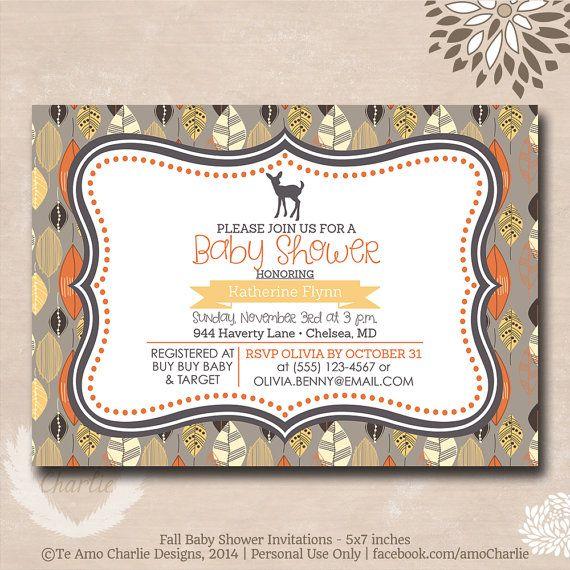 Deer Theme Baby Shower Invitations - Personalized Autumn Nature Woodsy Baby Shower Invitations