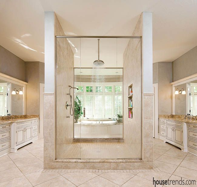 7 Spectacular Kitchen Staging Ideas Photos: An Ornate Shower Claims Center Stage In This Large Master