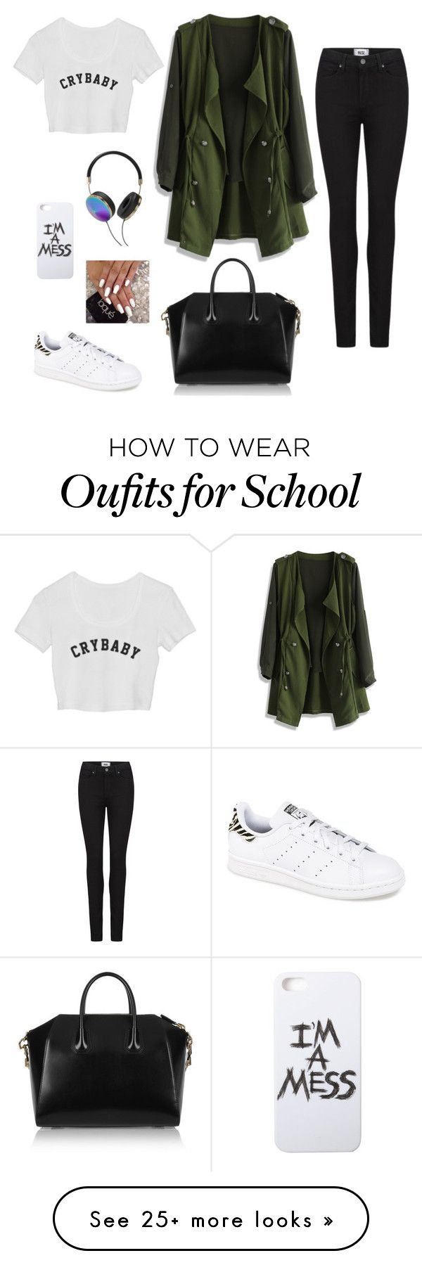 """School outfit (monday)"" by hopelessdreamer047 on Polyvore featuring мода, Chicwish, Paige Denim, Givenchy, Frends, LAUREN MOSHI и adidas"