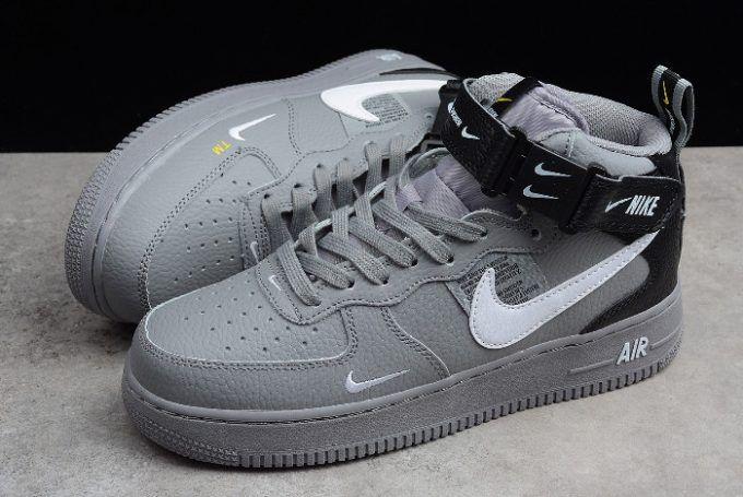 Buy Nike Air Force 1 Af1 Mid 07 Lv8 Wolf Grey White Black Sneakers Nike Air Shoes Black Sneakers Latest Ladies Shoes