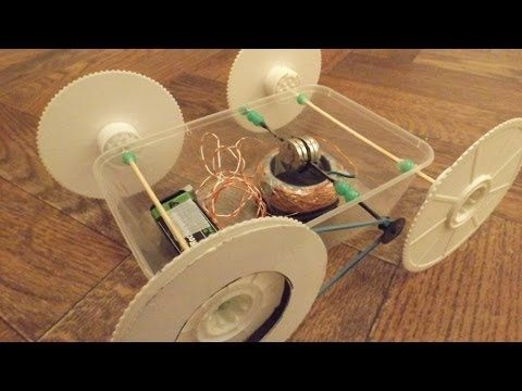 Home made electric motor drives home made toy car - YouTube