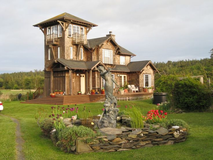 Lopez island house rental the tower house at agate beach for Castle house plans with towers
