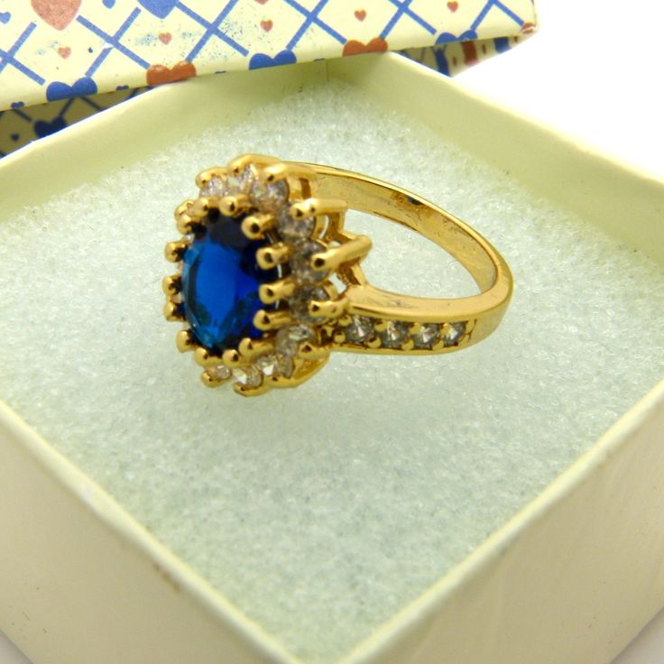 Blue Halo Ring  Yellow Gold Filled Wedding Womens Ring Oval ut Size 6,7