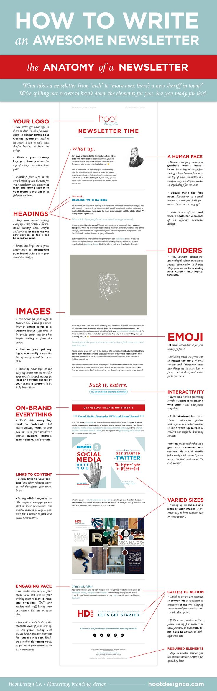 So you're about to write a newsletter. What should you include? Well, after  some trial and error (and lots of reading!) we've established some key  elements for creating on-brand, readable, engaging newsletter content.  Curious? We've compiled it all in one awesome anatomy lesson.   So what makes a good newsletter?  Click through for a larger view!    We follow these guidelines in our own newsletters, and so far they're doing  quite well.  Wanna come join the fun?  Sign up to land a spot…