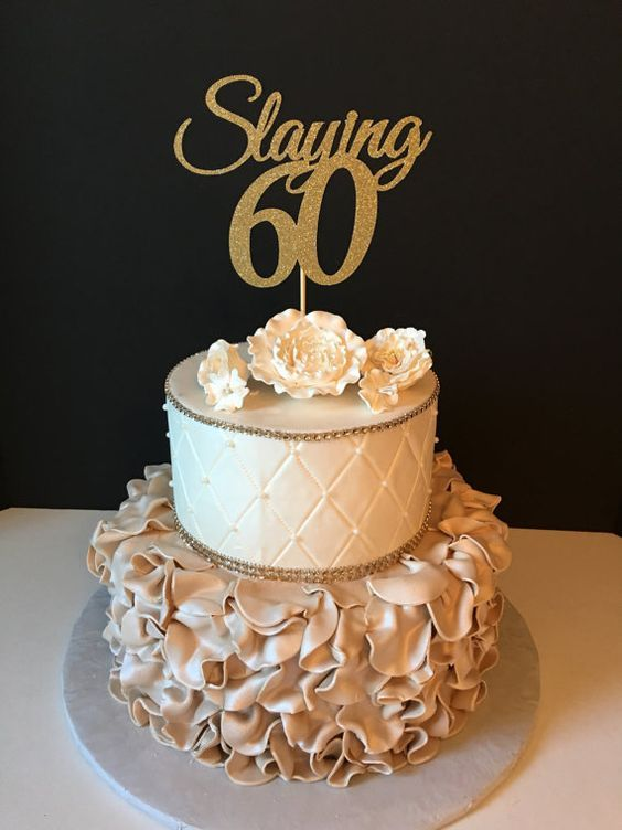 Any Number Gold Glitter 60th Birthday Cake Topper Slaying