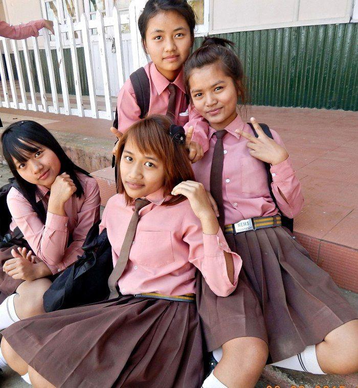 Mizo school girls of Hnahthial, Lunglei District, Mizoram, India