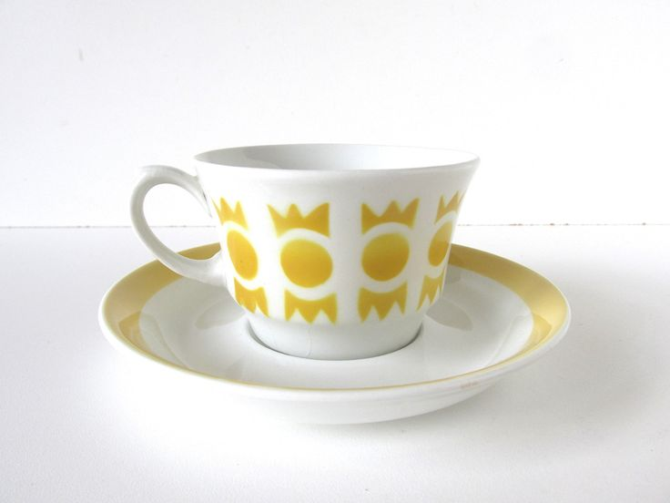 Arabia Finland Yellow Circle Crown Cup And Saucer, Vintage Stencil Spray Paint Mocha Cup and Saucer by HerVintageCrush on Etsy