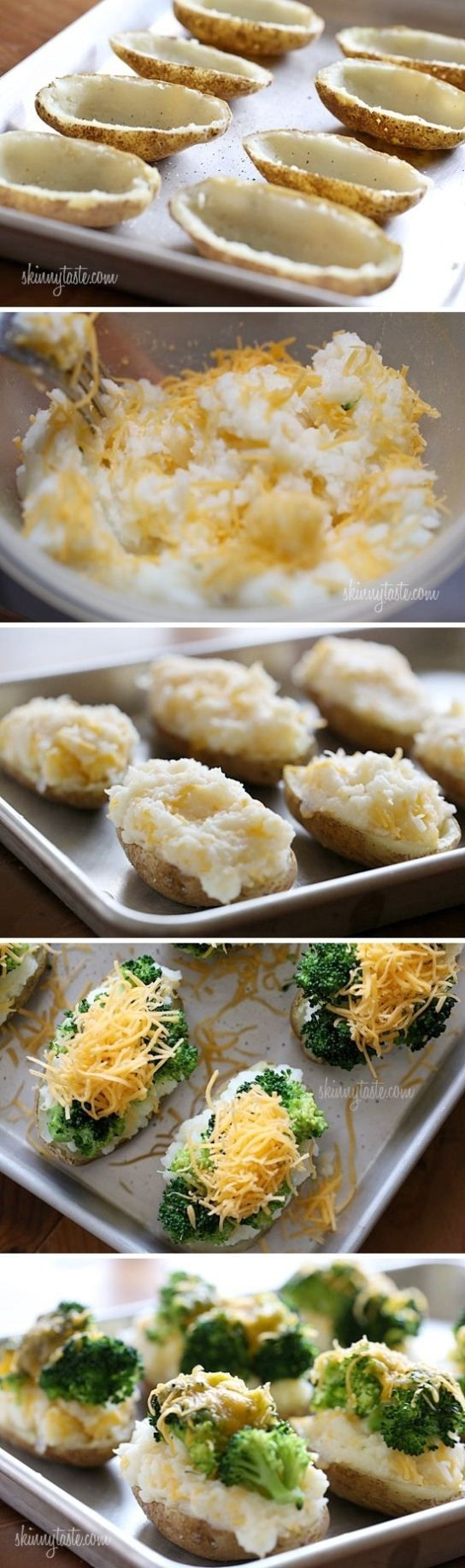 St. Patrick's Day-food ideas-Cheese and broccoli stuffed potatoes. You could make this healthier if you didn't put extra potatoes back in it just use the outside with the broccoli and low fat cheese