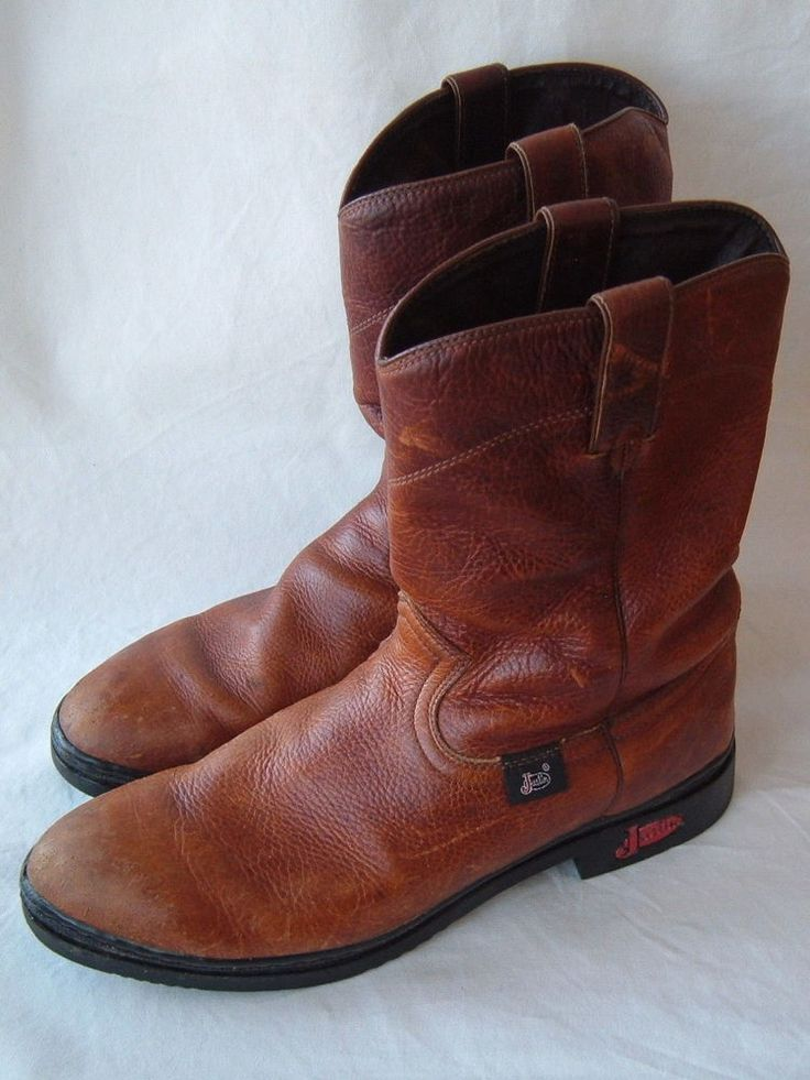 Justin Work Boots 9011 Size 11 D Brown Leather  #Justin #WorkSafety