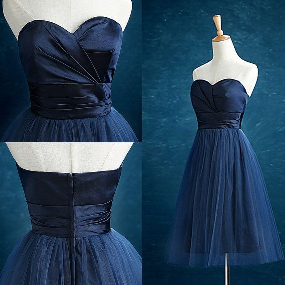 2016 Nave Tulle Bridesmaid dress Sweetheart Knee by harsuccthing