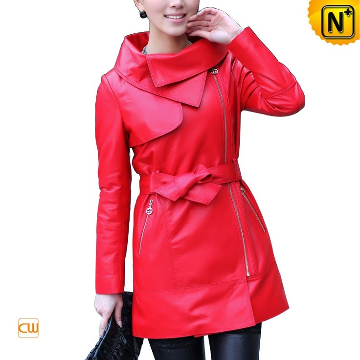 Women's Leather Jacket Designer Fashion Zipper Front Red Real Leather Jackets CW676120 $455.67 - www.cwmalls.com