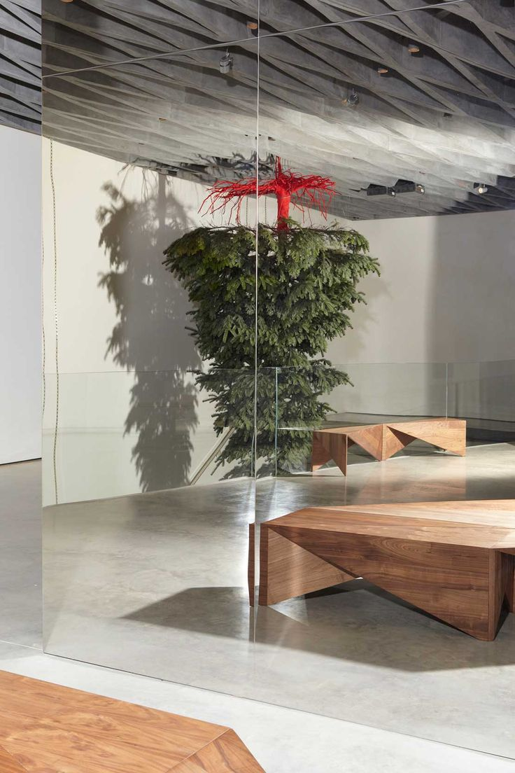 Shirazeh Houshiary Christmas Tree Installation at Victoria Beckham London Store | Yellowtrace