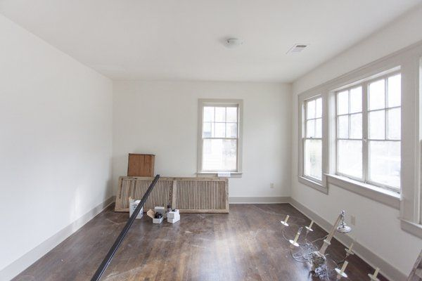 white dove walls (flat) and trim is revere Pewter semi ...