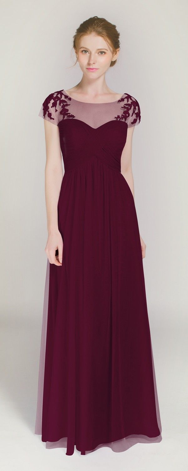 Best 25 burgundy lace bridesmaid dresses ideas on pinterest elegant long illusion neck bridesmaid dress with lace cap sleeves tbqp364 ombrellifo Gallery