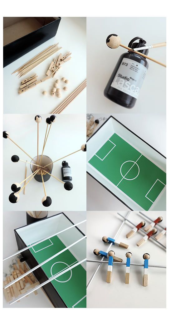 ≡ Sonja Egger baut Mini-Tisch-Fussball | Sonja Egger, Illustration, Handgemachtes, Bastelanleitungen