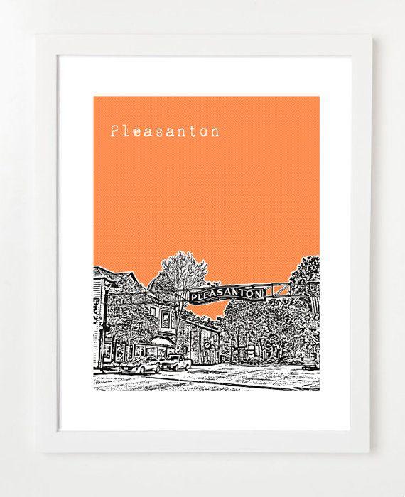 Pleasanton Skyline Poster  California City Art by BugsyAndSprite