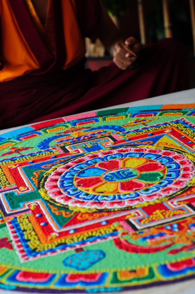 #Sand Mandala. Tibetan sand mandalas are carefully, lovingly created by hand and then destroyed to show the impermanence of all things