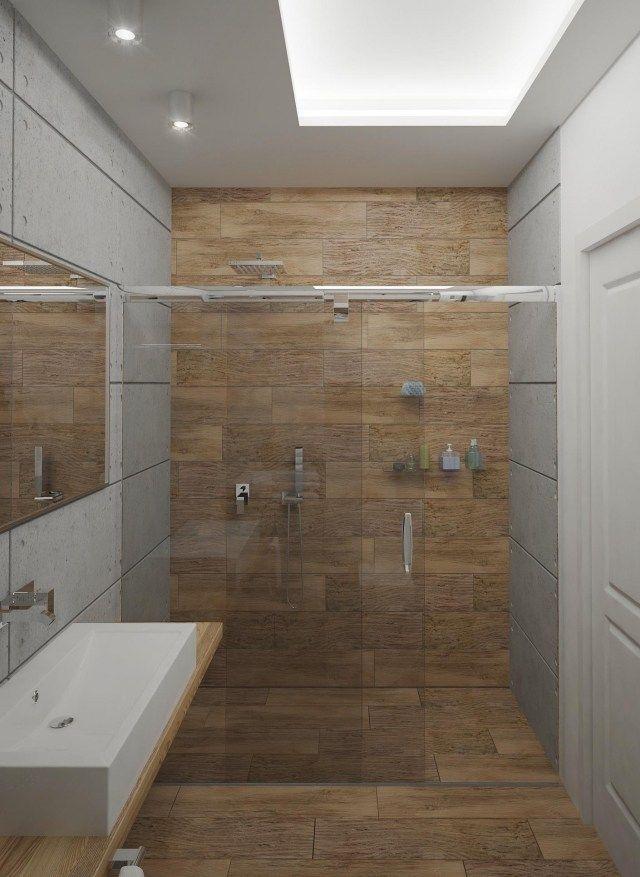 Kleines Bad Ideen Fliesen Holzoptik Begehbare Dusche Glas