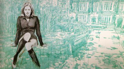 Merlin Carpenter The Estate of Sara Cox 2000 Acrylic on canvas 195 x 360 cm