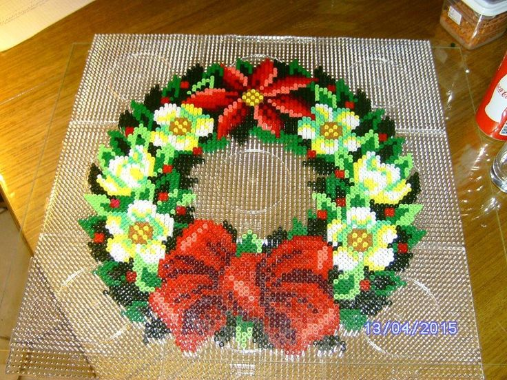 Flower wreath hama perler beads by Anja - Kiids & Friends