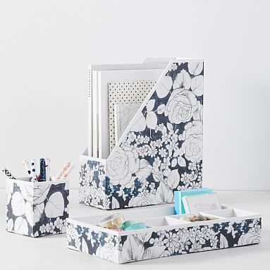 Printed Paper Desk Accessories, Charcoal Floral #pbteen