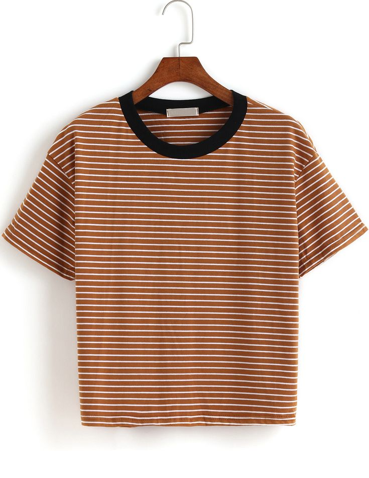 Shirt &t shirt is not good with too many colors .A piece of cartoon tee, striped shirt or bright polo tshirt is enough for fashion .i love this crop striped tshirt top very very very much ! So easy to fashion !