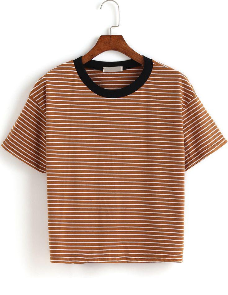 T-shirt avec collet à rayure - Kaki 11.85