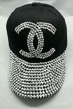 NEW Bling Rhinestone Studded Front Ballcap Womans Hat Baseball CapTennis Black