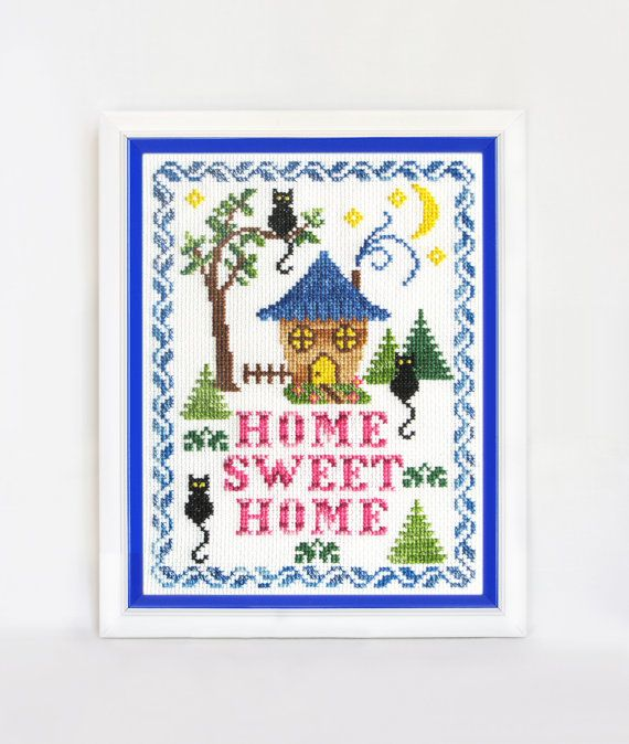 Finished embroidery cross stitch Home sweet home by TimeForStitch
