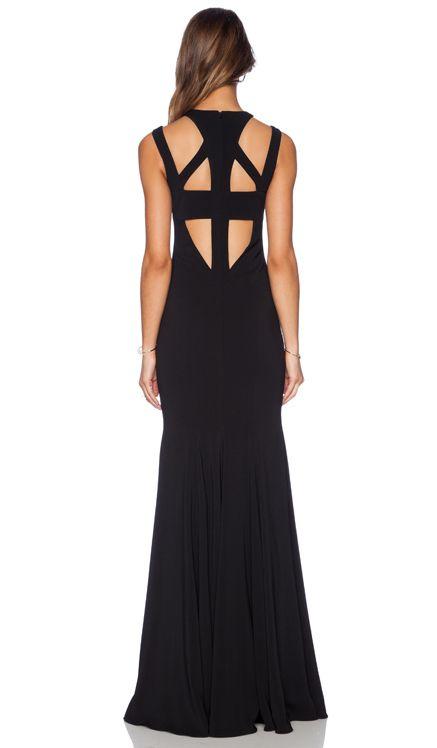 Jay Godfrey Foyt V Back Gown in Black   REVOLVE