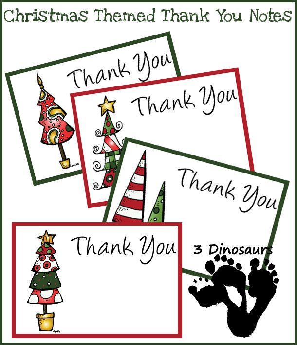 3 Dinosaurs has FREE Christmas themed thank you  cards that you can print and use