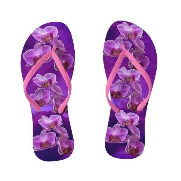 Purple Orchids Flip Flops ($32) ❤ liked on Polyvore featuring shoes, sandals, flip flops, purple shoes, flower shoes, blossom footwear, flower sandals and flower flip flops